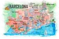 Barcelona Catalonia Spain Illustrated Trave Poster
