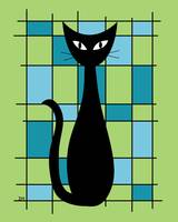 Abstract with Cat in Green