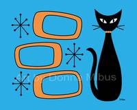 Cat with Retro Oblongs Blue