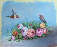 Bird Painting Hummingbird with Roses Flowers