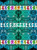 Deadhead Bears Pattern 2 - Teal Blue Pattern