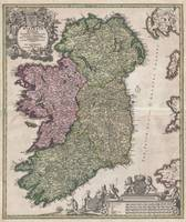 Map of Ireland 1716 Homann