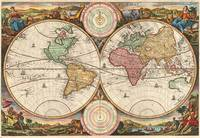 Map of the World in 2 Hemispheres 1730 Stoopendaal