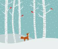 Fox and Cardinals Winter Illustration
