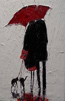 Red Umbrella and Black Cat