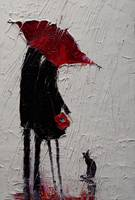 Red Umbrella and Black Cat 1