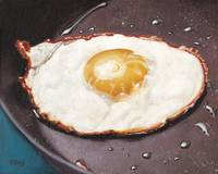 Original oil painting one fried egg in pan