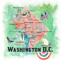 Washington DC USA Illustrated Travel Poster Favori