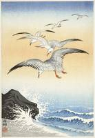 Seagulls Over a Turbulent Sea by Ohara Koson