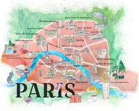 Paris France City Of Love Illustrated Travel Poste
