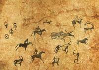 Rock cave paintings. Ancient painting. The first p