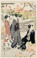 Women Viewing Cherry Blossoms by Eishi Hosoda