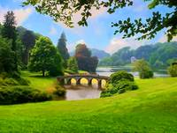 Landscape with a bridge. A park.