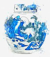 A BLUE AND WHITE OVOID JAR AND COVER QING DYNASTY,