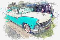 1955 Ford Fairlane Sunliner Convertible watercolor