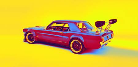 1966 Ford Mustang gradient neon coloring by Ahmet