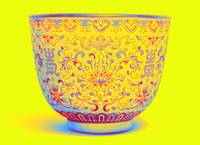 A LIME-GREEN GROUND FAMILLE ROSE CUP Neon art by A