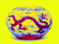 A SMALL DOUCAI 'DRAGON' WATERPOT Neon art by Ahmet