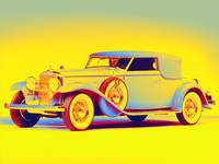 american classic car 2 gradient neon coloring by A