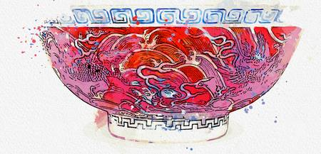 AN IRON-RED AND UNDERGLAZE-BLUE 'MYTHICAL BEAST' B