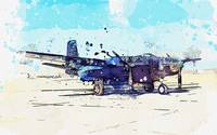 Douglas B-26K Counter Invader 2 watercolor by Ahme