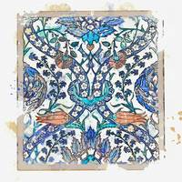 Iznik tile in quatre fleurs style, Turkey, circa 1