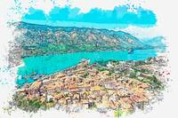 Kotor, Montenegro watercolor by Ahmet Asar