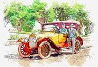 Mitchell Turing Car at Golden Gate Park watercolor