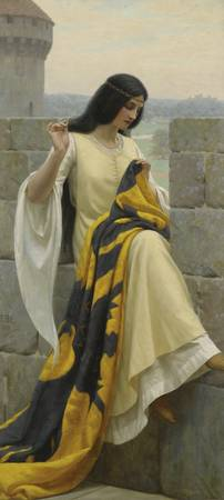Stitching the Standard, by Edmund Leighton