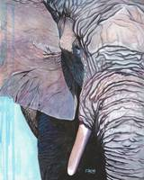 Original gouache painting elephant