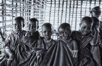 4239 Portrait of Young Maasai Children - Black and