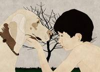 A boy looks at his dog
