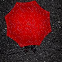 Red umbrella and boots