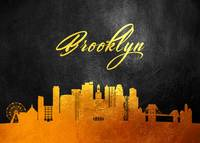 Brooklyn New York Gold Skyline