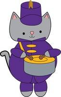 Marching Band Drummer Cat Purple Gold Yellow