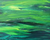 Light Green Organic Waves Abstract Art