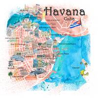 Havana Cuba Illustrated Map with Main Roads Landma