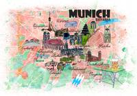 Munich Bavaria Illustrated Travel Map with Main Ro