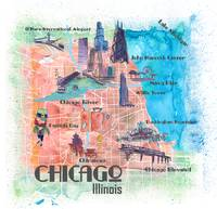 Chicago Illinois USA Illustrated Map with Main Roa
