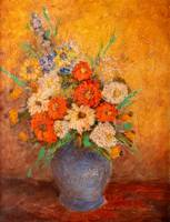 Flowers in a Vase Vintage Oil Painting