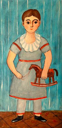 Girl with Rocking Toy Horse Painting