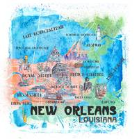 New Orleans Louisiana Illustrated Map with Main Ro