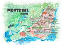 Montreal Quebec Canada Illustrated Map with Main R