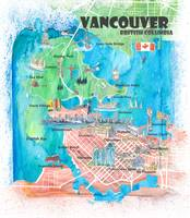 Vancouver British Columbia Canada Travel Poster Fa