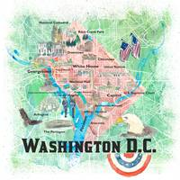 Washington DC USA Illustrated Map with Main Roads