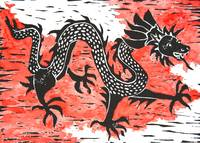 Dancing Asian dragon linocut