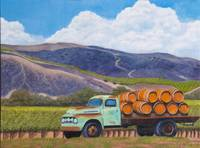 Old Truck and Wine Barrels