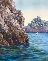 Seascape With Cliff Boat and Island Watercolor Art