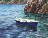 Blue Boat In A Safe Harbor Seascape