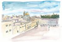 Jerusalem Temple Mount With Western Wall